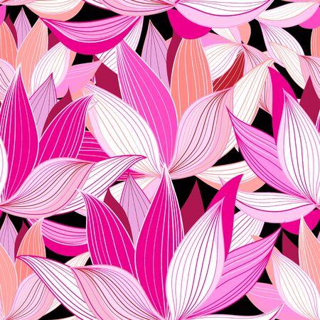 Illustration pour seamless pattern pink lotus flowers on a black background - image libre de droit