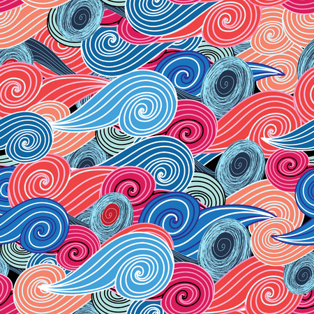 Abstract seamless graphic pattern of different interesting waves
