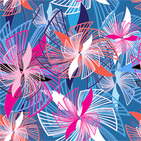 Abstract seamless graphic pattern of different interesting flowers