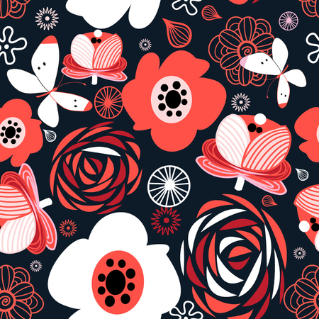 Graphic seamless pattern of bright flowers on a dark background