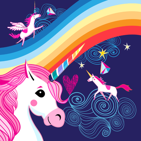 Ilustración de Vector bright poster with a rainbow and unicorns on a dark blue background - Imagen libre de derechos