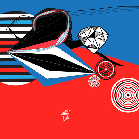 Illustration for Abstract vector bright poster with geometric shapes - Royalty Free Image