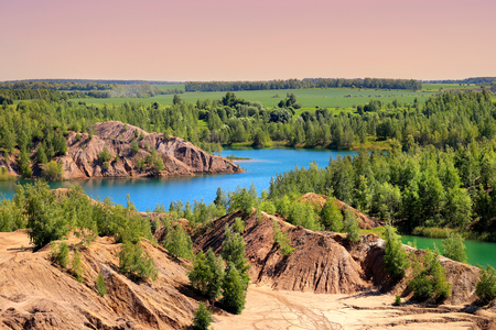 Photo for Photo of beautiful blue lakes in Tula region Russia in the hot summer - Royalty Free Image