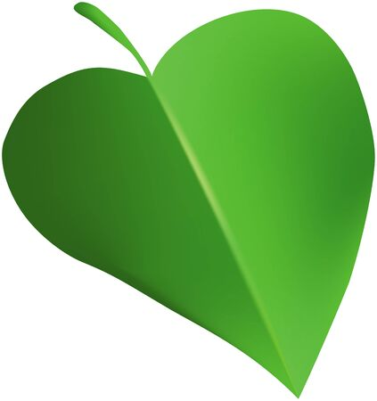 Abstract green heart-shaped leaf