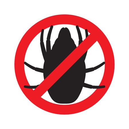 Illustration pour The sign forbidding house dust mites. Vector illustration. - image libre de droit