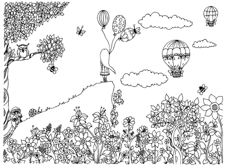 Illustration pour Vector illustration zentangl girl on the mountain with balloons. Garden, doodle flowers, clouds, tree, owl, zenart, dudling. Coloring anti stress for adults. Black and white. Adult coloring books. - image libre de droit