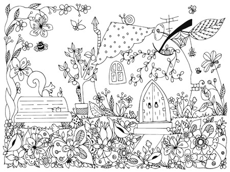 Illustration pour illustration park, garden: a bench, a tree with apples, flowers, doodle. Coloring anti stress for adults. Black and white.  Adult coloring books. - image libre de droit