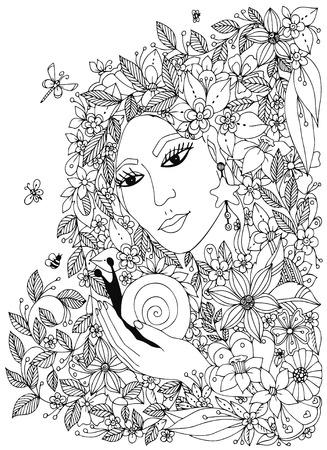 Illustration pour woman with snail in the colors. Design for coloring book adults. Coloring. Black & White. - image libre de droit