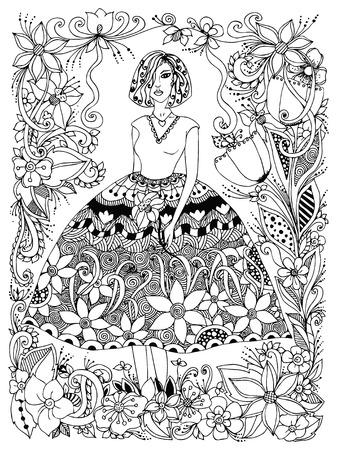 Vector illustration girl holding flower in lush dress full growth. Frame of flowers, doodle, zenart. Black and white. Anti-stress.  Adult coloring books.
