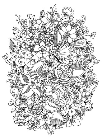 Vector illustration of flowers. Black and white. Adult coloring books.