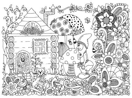 Ilustración de Vector illustration Zen Tangle gnome and a house. Doodle flowers, cat, garden. Coloring book anti stress for adults. Black and white. - Imagen libre de derechos
