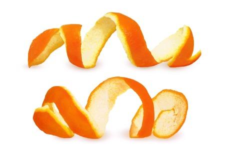 Photo pour Close-up Spiral peeled fresh orange peels isolated on white background. Two citrus peels - image libre de droit