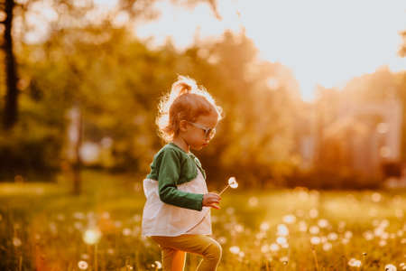 Photo for Young cute girl in sun glasses walking on a glade with dandelions. Sunset. - Royalty Free Image