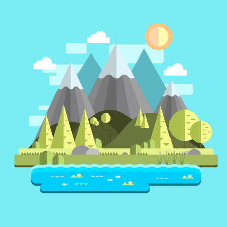 Illustration pour Cartoon flat summer landscape with mountains and trees template. Bright, colorful vector illustration for games, background, pattern, decor, children's story book, fairytail. Print for fabrics - image libre de droit