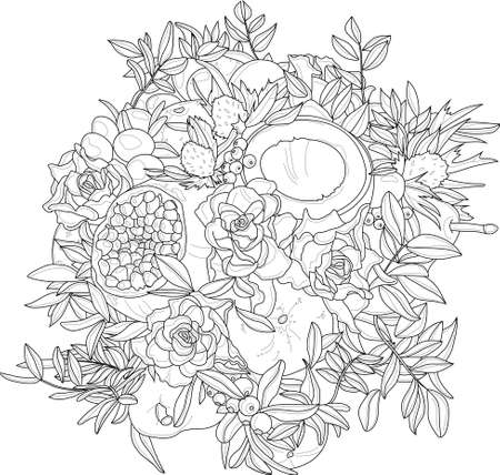 Illustration pour Realistic mix flower and fruit bouquet with roses, coconut, pomegranate and leafs sketch template. Vector illustration in black and white for games, background, pattern, decor. Coloring paper, page - image libre de droit
