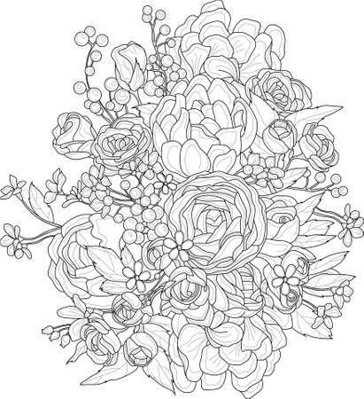 Illustration for Realistic mix flowers bouquet with roses, peony and small berries and flowers sketch. Vector illustration in black and white for games, background, pattern, decor. Print for fabrics.  Coloring paper - Royalty Free Image