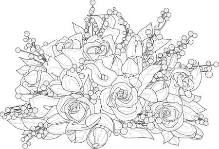Illustration for Realistic mix flower bouquet with roses, berry and leafs sketch template. Vector illustration in black and white for games, background, decor. Print for fabrics and other surfaces. Coloring page, book - Royalty Free Image