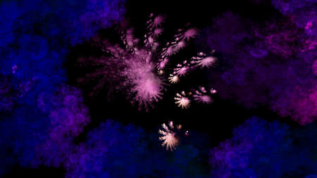 Photo for Abstract space illustration of blue and pink clouds and fractal stars on black background. Used for design and creativity, for screensavers. - Royalty Free Image