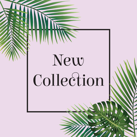 Illustration for Palm leaf. New collection poster. Web banner or poster for e-commerce, on-line cosmetics shop, fashion and beauty shop, store. Vector illustration. Eps10 - Royalty Free Image