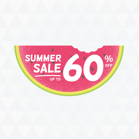 Summer Sale 60 per cent off. Vector triangular background with watermelon