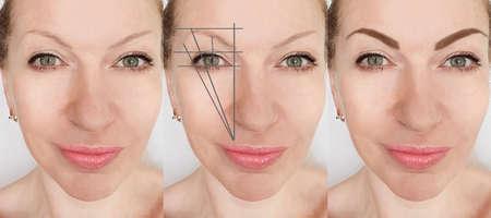Photo pour eyebrows before and after correction - image libre de droit