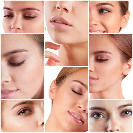 Photo pour Beautiful woman face close up collage - image libre de droit