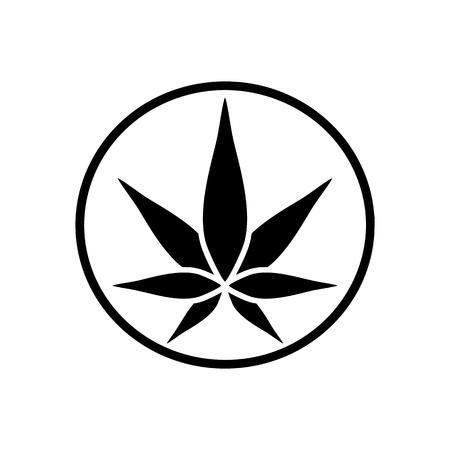 Ilustración de Cannabis green silhouette icon. Hemp of emblem. Ganja symbol. Green manufacturing. - Imagen libre de derechos