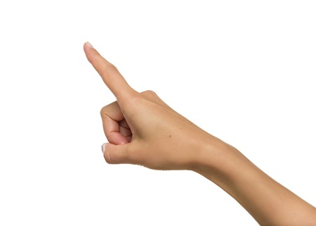 Photo pour Woman hand pointing up with index finger or pressing button - image libre de droit