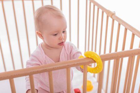 Foto für Baby girl at childrens playpen. - Lizenzfreies Bild