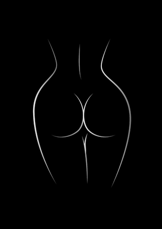 contour of the naked female back and buttocks isolated on the black background, vertical vector illustration