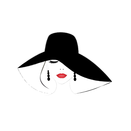 Illustration for smiling beautiful woman face with closed eyes and red  lips in a wide brimmed hat, square vector illustration - Royalty Free Image