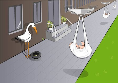 Illustration for sad stork begs for alms, and quadcopters deliver babies, horizontal vector illustration - Royalty Free Image