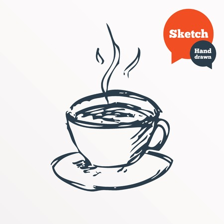 Hand drawn coffee cup. Sketched hot tea drink. Teacup symbol. Vector