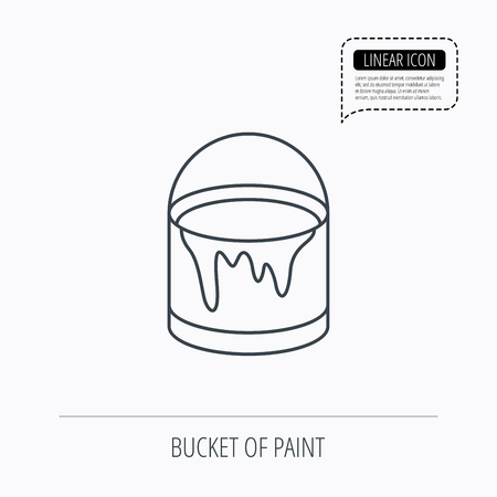 Bucket of paint icon  Painting box sign  Linear outline icon
