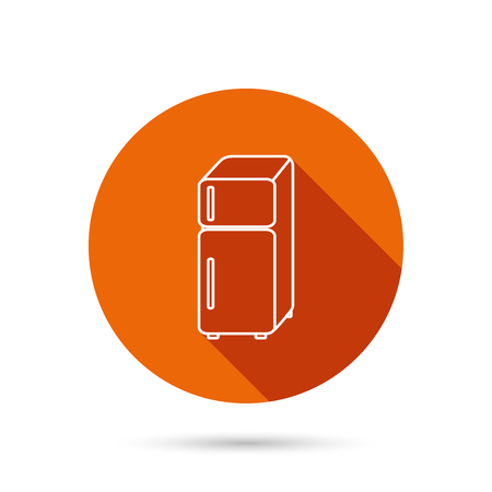 Refrigerator icon. Fridge sign. Round orange web button with shadow.