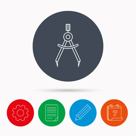 Compasses icon. Measurement dividers sign. Calendar, cogwheel, document file and pencil icons.