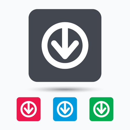 Download icon. Load internet data symbol. Colored square buttons with flat web icon. Vector