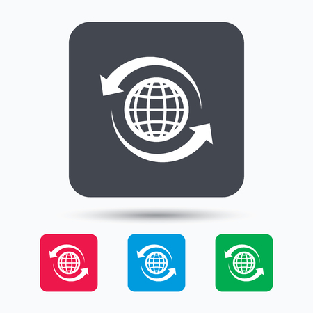 Globe icon. World or internet symbol. Colored square buttons with flat web icon. Vector