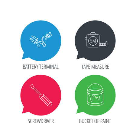 Colored speech bubbles. Screwdriver, battery terminal and tape measure icons. Bucket of paint linear sign. Flat web buttons with linear icons. Vector