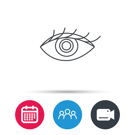 Eye icon. Human vision sign. Ophthalmology symbol. Group of people, video cam and calendar icons. Vector