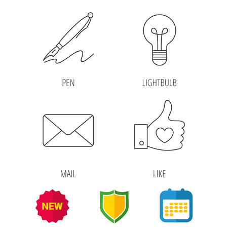 Mail, heart and lightbulb icons  Pen linear sign  Shield protection