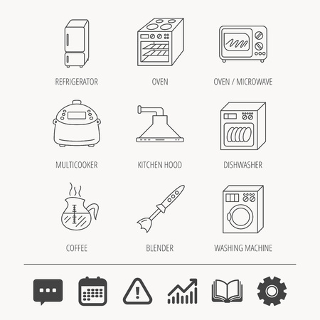 Microwave oven, washing machine and blender icons. Refrigerator fridge, dishwasher and multicooker linear signs. Coffee icon. Education book, Graph chart and Chat signs. Vector