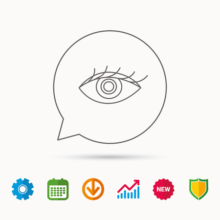 Eye icon. Human vision sign. Ophthalmology symbol. Calendar, Graph chart and Cogwheel signs. Download and Shield web icons. Vector