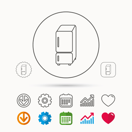 Refrigerator icon. Fridge sign. Calendar, Graph chart and Cogwheel signs. Download and Heart love linear web icons. Vector