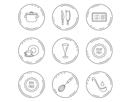 Illustration pour Kitchen knives, glass and pan icons. Food and drink, coffee cup and whisk linear signs. Soup ladle, heat-resistant and DEHP, BPA free icons. - image libre de droit