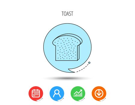 Photo pour Toast icon. Sliced bread piece sign. Bakery symbol. Calendar, User and Business Chart, Download arrow icons. Speech bubbles with flat signs. Vector - image libre de droit