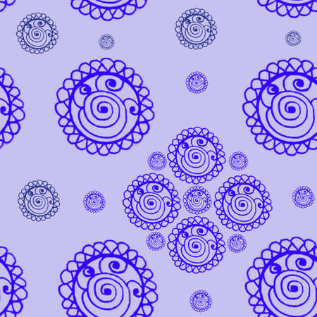 Photo for On the light purple background are drawn round tracery elements of different sizes of purple color. Seamless pattern. - Royalty Free Image