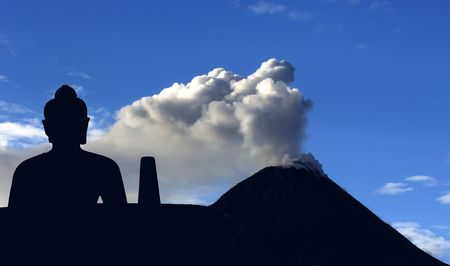 Indonesia, Java: Merapi  eruption, may 2006 and buddha in meditation