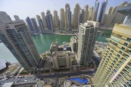 United Arab Emirates: Dubai skyline .an impressive view of the new city in the area of dubai marina. the second largest manmade marina in the world. a residential district