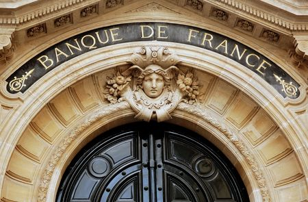 France, Paris: Architectural detail of the main entrance of the Banque de France in Paris